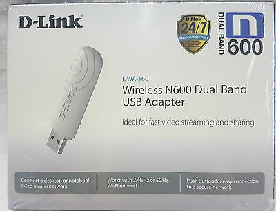 D-Link Dwa-160 Wireless N600 Dual Bnd Usb Adapter Rrp $49.95 - New And Sealed
