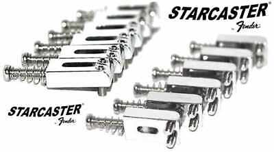 Fender Starcaster Chrome Electric Guitar Bridge Saddles New ! Nice ! Free Ship !