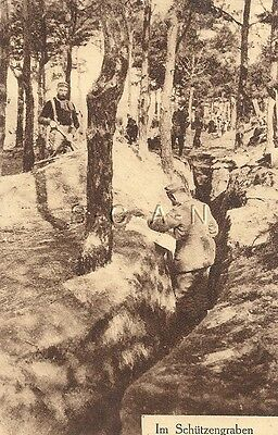 WWI Original German PC- Soldiers- Building Trenches in Woods- Dated 1915