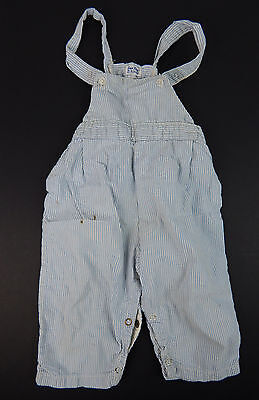 1950's Vintage SanTone Blue Striped Cotton Suspender Shorts Toddler Size 18mo.