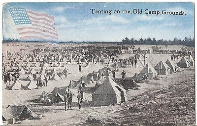 WWI Era Original Army PC- Soldier- Tenting on the Old Campgrounds- Flag- 1917-18