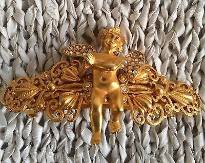 NEW KIRKS FOLLY Angel With Swarovski LARGE HAIR BARRETTE  BRASSTONE