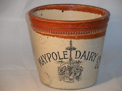 RARE SIZE 4LB ANTIQUE VICTORIAN HANDLED MAYPOLE DAIRY Co Ltd BUTTER CROCK VGC