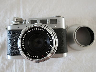 Diax Iia W. Voss 35Mm Film Camera Hood & Lens Xenarschneider 1:2.8 /45 Germany