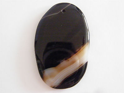 Large Banded Black Onyx gem stone pendant high quality ( drilled )