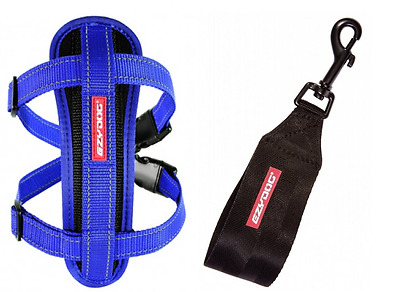 EZYDOG - Blue MEDIUM Chest Plate Harness With Seat Belt Loop - Free Delivery