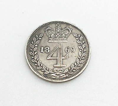 1869 Queen Victoria Young Head Sterling Silver .925 MAUNDY Fourpence/Groat Coin