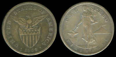 1909-S US Administration Philippines 1 PESO Silver Coin - Stock #Z3
