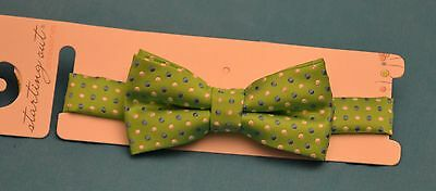 STARTING OUT~~Baby Boys Green POLKA DOTTED Adjustable Bow Tie