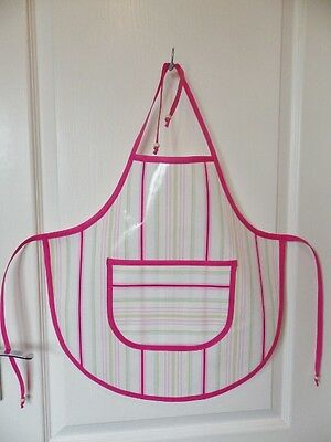 Hand Crafted KIDS DESIGN OILCLOTH CHILDRENS APRON : PINK & SORBET STRIPE