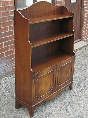 Bevan Funnell Reprodux flame mahogany double cupboard open waterfall bookcase