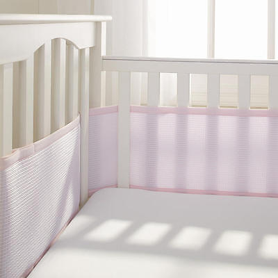 BreathableBaby Deluxe Breathable Cable Weave Pink Mesh Crib Liner