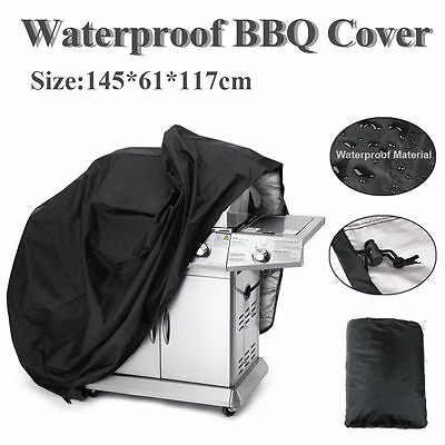 Black 57'' Waterproof BBQ Cover Gas Barbecue Grill Protection Patio Outdoor