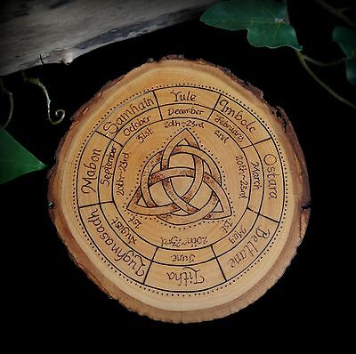 Alder Wood Wheel of the Year Altar Piece Wicca Pagan Offering Board Triquetra