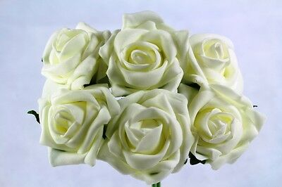 6 Artificial Foam Roses Wedding Flowers All Colours For Bouquets Or Buttonholes