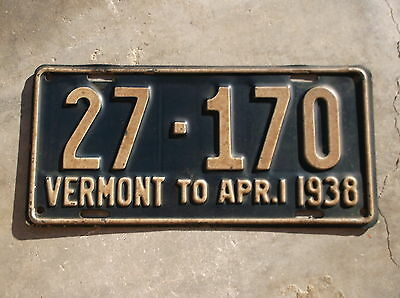 Vermont 1937 / 38  License Plate  #  27 - 170