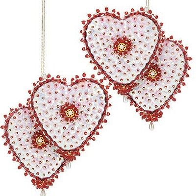 Kit Makes 2 Entwined Heart Ornaments Sequin Beads Christmas Craft NEW
