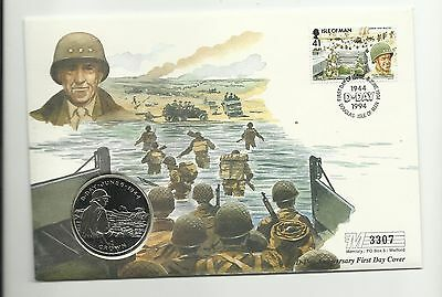 Coin Cover Isle of Man D-Day 50th Anniversary 1994 One Crown Bradley