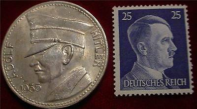 Large Commemorative Adolf Hitler 1935 Medal & Authentic Nazi 3Rd Reich Stamp