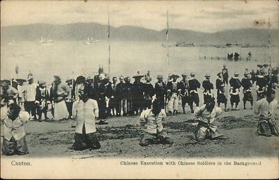 MaCabre - Canton China Chinese Execution Soldiers in Background c1910 Postcard