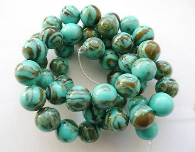UKcheapest-green Blue brown turquoise round 10 12mm gemstone beads