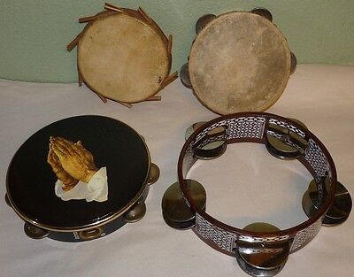 Cool Lot of 4 Tambourines Drum Remo African Arab Pakistan Church Double Row