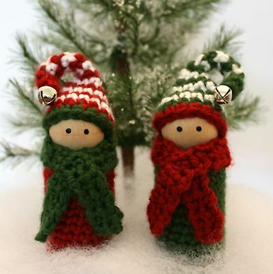 Christmas Holiday Wood Doll Pin Elf Crochet Ornament Kit. large 5 inch, makes 2