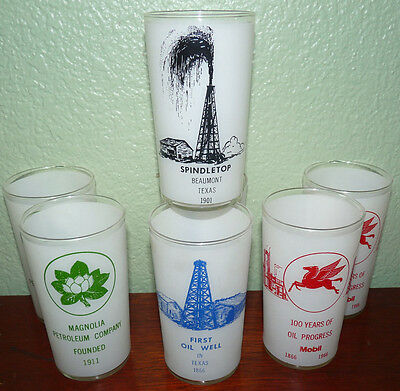 Mobil Oil Magnolia Petroleum Frosted Advertsing Glasses Lot Cups Gas 1966