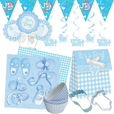 NEW BABY BOY Baby Shower Party Range - Tableware Balloons Banners & Decorations