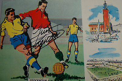 1958 World Cup Original Postcard Signed By Just Fontaine