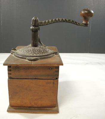 Early Victorian Wood & Cast Iron Coffee Grinder