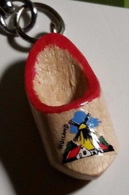 Holland Dutch Windmill Design Mini Wooden Shoe On Key Chain Netherlands Key Ring