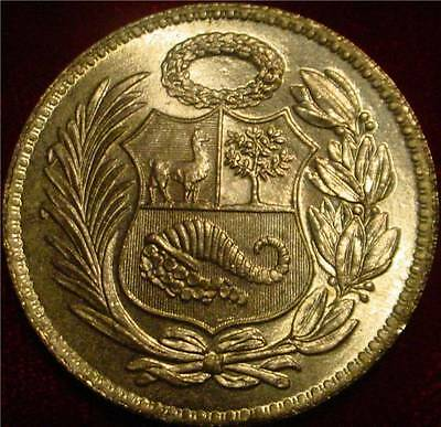 Beautiful Hi Grade Bu 1948 Large 1 Sol Peru *superb Detailed Coin**