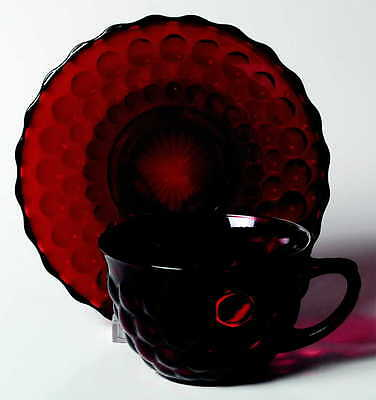 Anchor Hocking BUBBLE RUBY Cup & Saucer 1986255