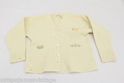 "VTG Baby or Doll Sweater w Bird Embroidery Astria Wool 1940s 14-15"" Chest Sz 1"