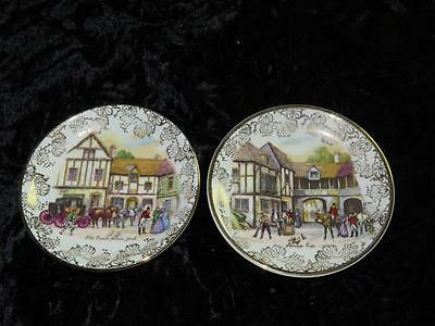 Pair of Vintage China Pin Dishes MIDWINTER Coaching Hunting Scenes 1940s