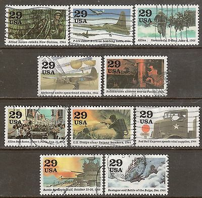 Scott #2838 a-j Used Set of 10, 1944: Road To Victory