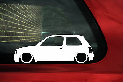 2x LOW Nissan Micra K11 outline, silhouette stickers, Decals