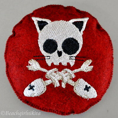 """Embroidered Felt Skeleton Choice Pin Cushion or Doll Accessory 4"""" Pillow Stuffie"""