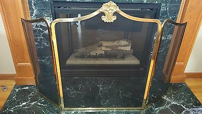 Brass Tri Fold 3 Panel Fireplace Screen Metal Mesh Screen Ornate Feather Design
