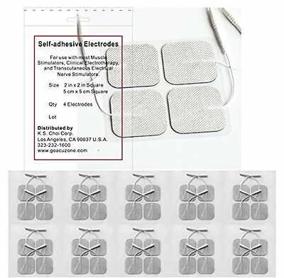 Reusable Electrode Pads w/ Self Stick Gel for most muscle Stimulators, 40 Pack