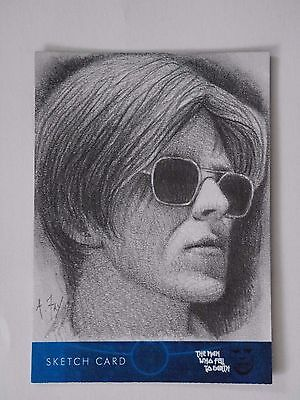 DAVID BOWIE THE MAN WHO FELL TO EARTH Sketch Card by Andy Fry