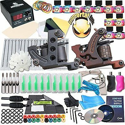 Complete Tattoo Kit - 2 Machine Gun & 10 Color Inks Power Supply by Dragon Hawk