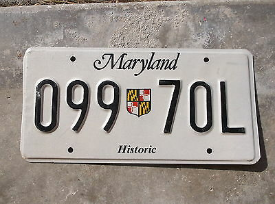Maryland Historic License Plate  # 099  70L