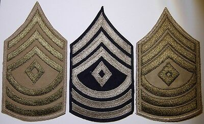 WW2 US Army 1st Sergeant 1st Grade Chevrons - 3 Different Variations