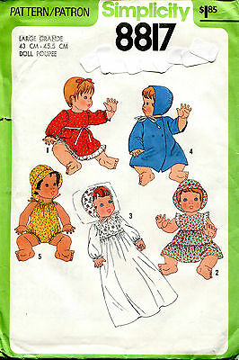 "SIMPLICITY 8817 3 Sizes 13""-17"" Doll Clothes Baby Alive RUB a DUB ©1978 Pattern"