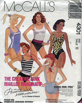 McCall 4301 Swimsuit MADE-FOR-YOU sz12 SCOOP NECK LOW BACK pattern UNCUT FF