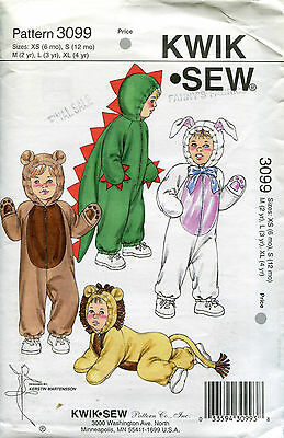KWIK SEW 3099 PATTERN BABY & TODDLER COSTUMES XS-S-M-L-XL hood missing