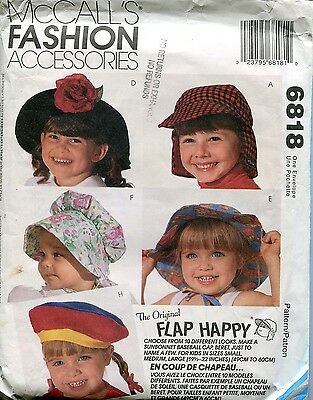 McCall's 6818 FLAP HAPPY Hats KIDS UV protection pattern PREVENT SKIN CANCER