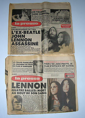 JOHN LENNON death MONTREAL 2 x French PRESSE  9-10 dec 1980 bed in Beatles